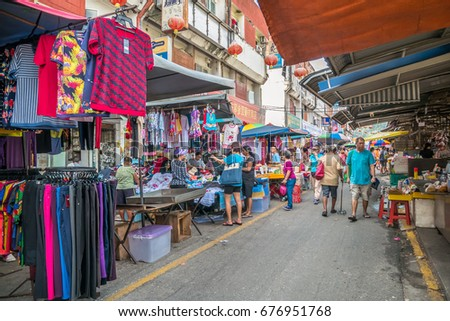 Selangor,Malaysia - July 10,2017 : Scenic view of the morning market in Ampang, Malaysia. The morning market which is selling sell almost everything from agricultural product to souvenir.