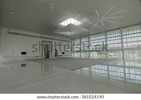 SELANGOR, MALAYSIA - JUNE 15, 2015: Interior of Ara Damansara Mosque at the Ara Damansara, Selangor, Malaysia. It is a modern design mosque and has gold medal award in the green technology index.  - stock photo