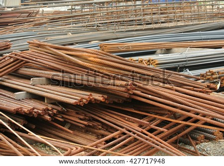 SELANGOR, MALAYSIA -MAY 13, 2016: Hot rolled deformed steel bars or steel reinforcement bar used at construction site to strengthen concrete. It is shaped follow the engineer design.