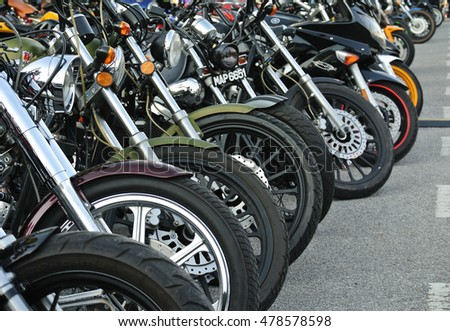 SELANGOR, MALAYSIA -OCTOBER 25, 2015: Group of big bike and super-bike at the motorcycle parking lot.