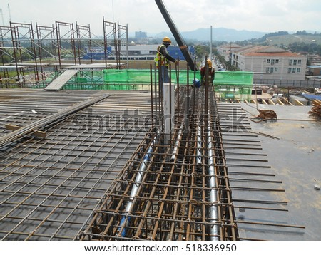 SELANGOR, MALAYSIA -OCTOBER 13, 2016: Hot rolled deformed steel bars or steel reinforcement bar at construction site.It use to strengthen concrete. It is shaped follow the engineer design.