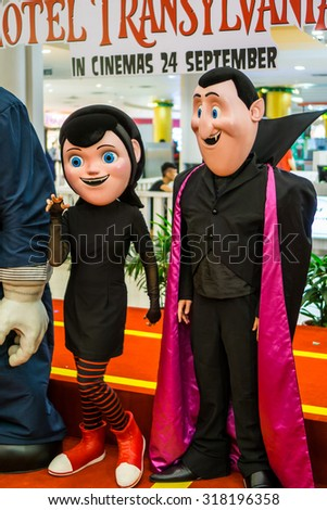 SELANGOR, MALAYSIA - SEPT 19, 2015 - The cast of Hotel Transylvania 2 greeting and having photo sessions with the crowd in Sunway Pyramid on 19 September 2015.
