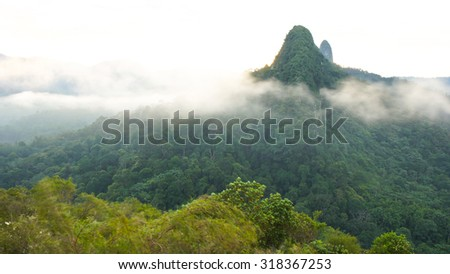 SELANGOR, MALAYSIA - 26TH MAY 2013; Bukit Tabur is a hill located in Selangor, Malaysia.The hill is very prominent as it is part of Klang Gates quartz ridge and can be seen from the Kuala Lumpur city.