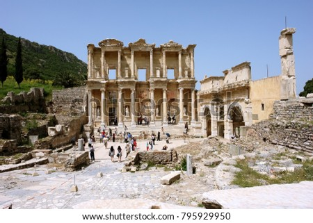 Selchuk, Turkey - April 21, 2008: View of the ruins of the ancient Roman library of Celsus in the ancient city of Ephesus.