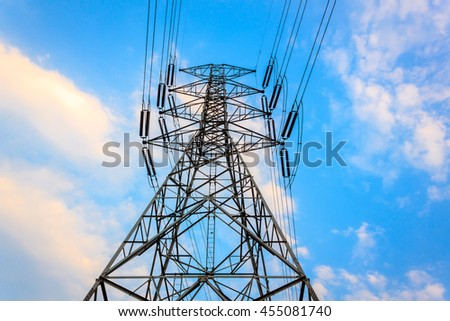 selctive focus electricity pylon and beautiful blue sky.