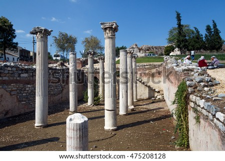 SELCUK, TURKEY - SEPTEMBER 29, 2014: Ancient columns revealed in the middle of Town