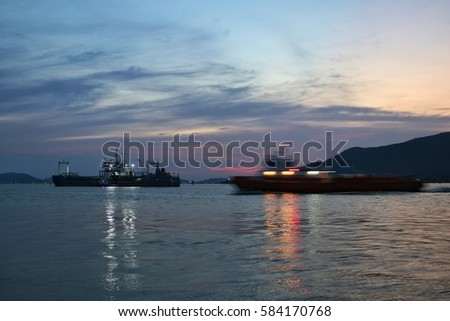 select focus,moving ship with beautiful night landscape background