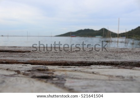 select focus,wood texture on landscape background