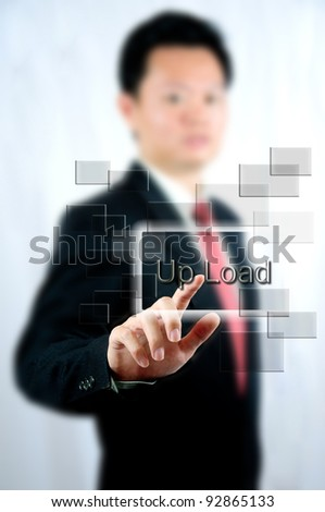 Select Upload button for up data and information to system network by businessman