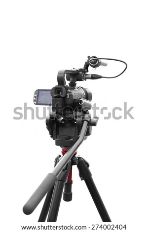 Selected focus camcorder isolated in white background - stock photo