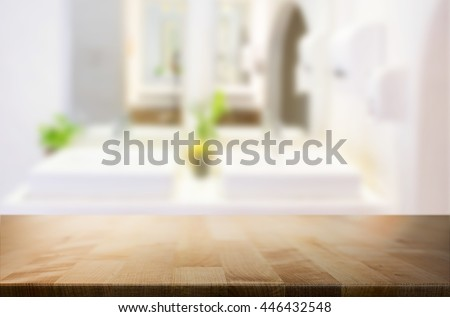 Selected focus empty brown wooden table  for product display montage bathroom and desk. - stock photo