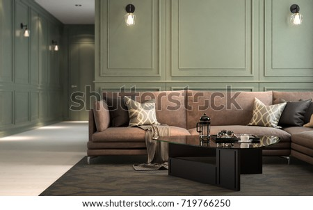 Selected Focus, Interior Classic Living, Retro Classical Style, With Loose  Furniture, 3D