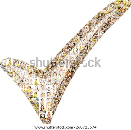 selection icon. formed with people. collage.  - stock photo