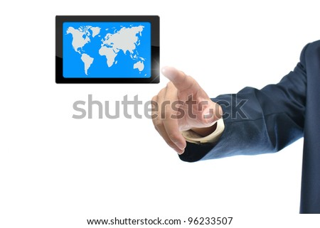 Selection idea by business hand pointing object on white background.