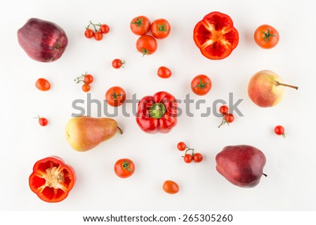 Selection of assorted red fruits and vegetables, view from above - stock photo