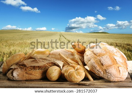 Selection of bread with yellow wheat field under nice clue cloud sky background