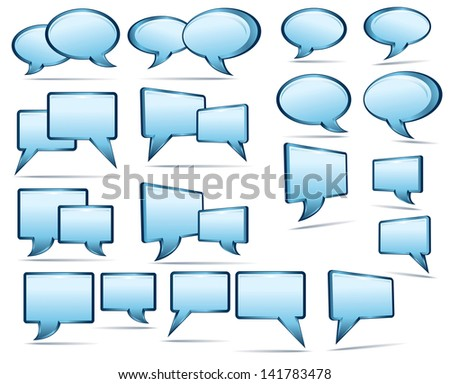 Selection of 3D and 2D speech bubbles - Raster Version - stock photo