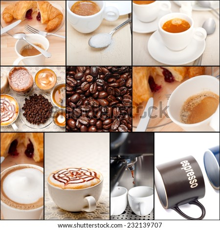 selection of different coffee type on collage composition nested black frame