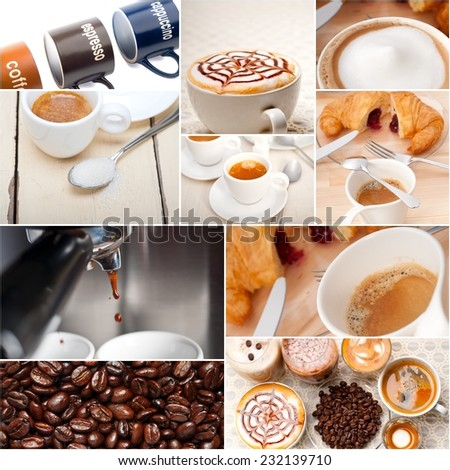 selection of different coffee type on collage composition nested white frame - stock photo