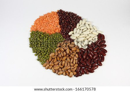 Selection of different kinds of beans.