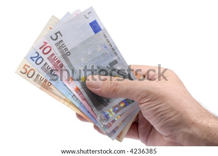 Selection of euro notes in macro detail held in a male hand
