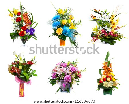 Selection of flower arrangement - stock photo