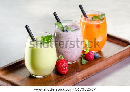 selection of fresh fruit vegetable juice smoothie colors healthy drink tasty