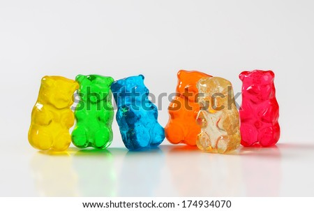 Selection of gummy bears - stock photo