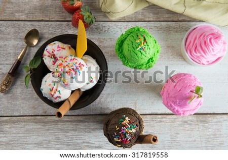 selection of ice creams stho from top down - stock photo