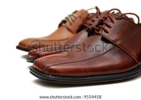 Selection of male shoes isolated on the white