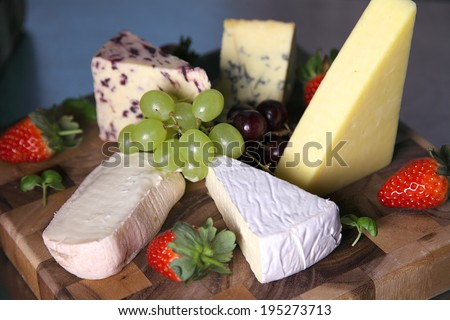 Selection of mature ripe cheeses