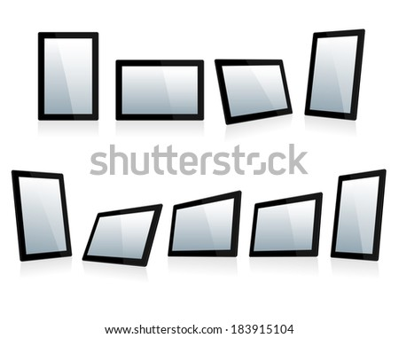 Selection of Mini Tablets at different angles - Raster Version - stock photo