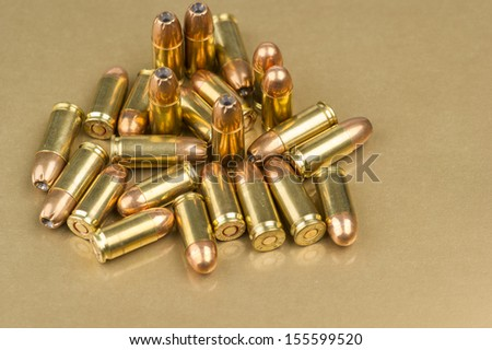 Selection of 9mm and .380 live ammunition - stock photo