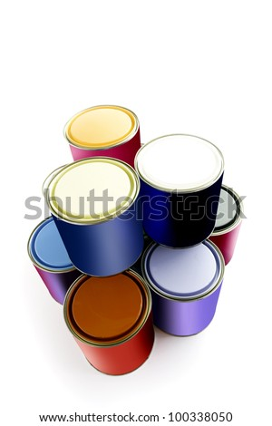 Selection of paint tins - stock photo