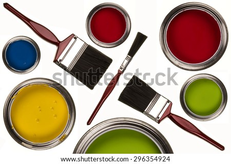 Selection of paints and paintbrushes - isolated - stock photo