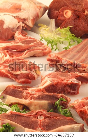 Selection of raw meat to be grilled - stock photo