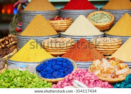 Selection of spices on a traditional Moroccan market (souk) in Marrakech, Morocco - stock photo