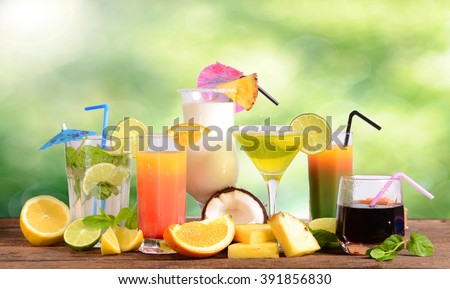 Selection of summer drinks - stock photo