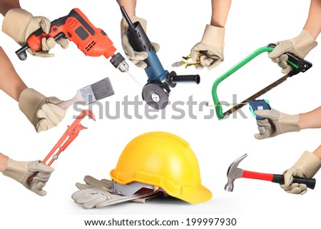 Selection of tools in the shape of a house, home improvement concept