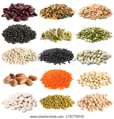 Selection of various legumes on white background - stock photo