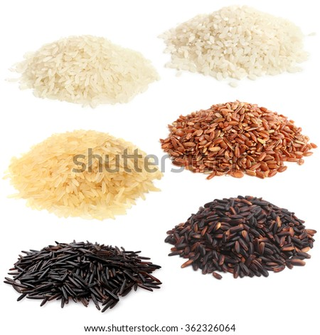 Selection of various rice on white background - stock photo