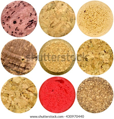 Selection of various wine corks isolated on white background