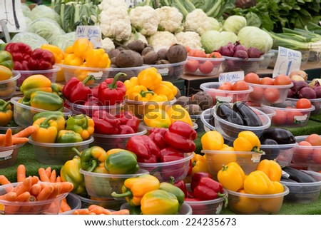 selection of vegetables at a market stall.