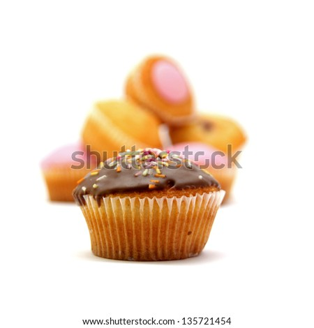 Selection, variety  of fairy cakes or cup cakes - stock photo