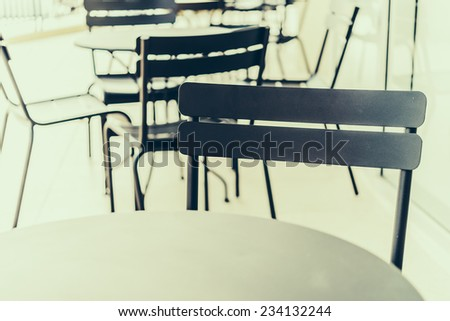 Selective chairs in coffee shop background - vintage effect style pictures