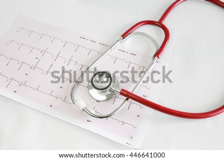 Selective focus A Stethoscope on the waveform from an ECG graph as a background. - stock photo