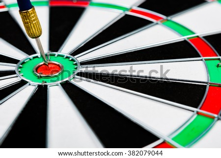Selective Focus :  Blue dart hit the target on dartboard