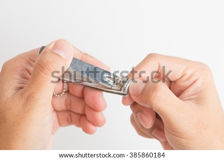 Selective Focus  : Close up of fingernail cutting