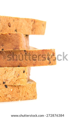 selective focus closeup rim of the cereal and black sesame bread stacking by selective focus - stock photo