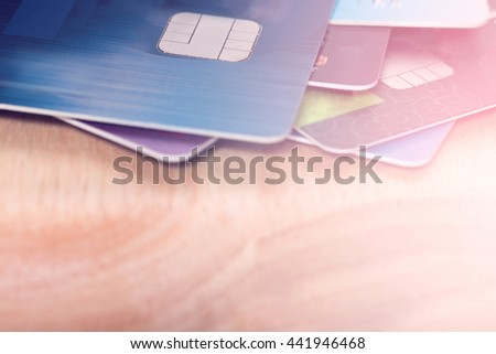 Selective focus credit cards with gradient filter effect,Credit cards background concept,Copy space. - stock photo